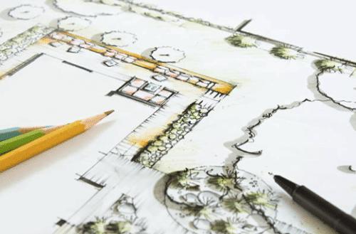 Dessin d'un projet de création d'extérieur par Imagine Mon Jardin