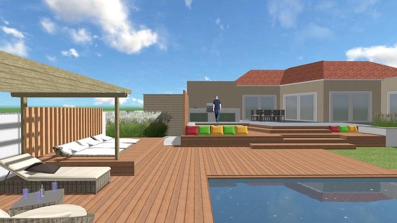 Espace extérieur 3D Terrasse et Piscine