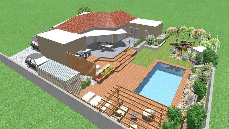 Extérieur complet d'une future villa en 3D