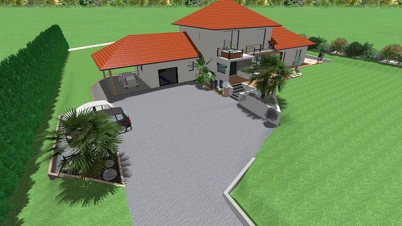 Vue ensemble 3D extérieur villa neuve Orthez