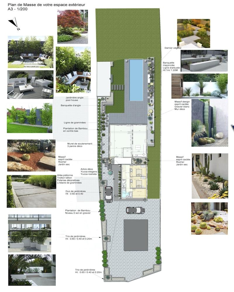 Plan de masse aménagement contemporain
