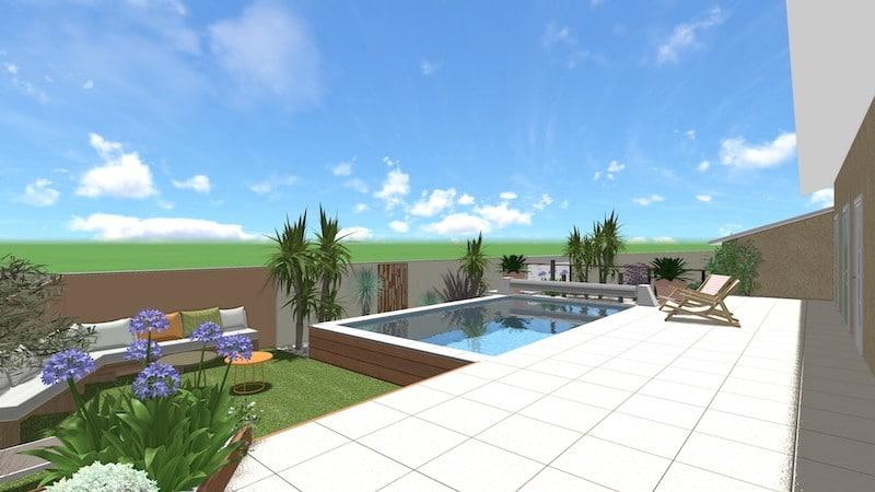 Vue du jardin et de la piscine relooking total agde