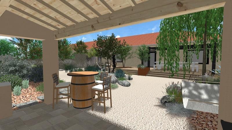 Vue D Projet aménagement ancienne cave Plan de masse ancienne cave viticole Villespassans