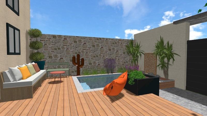 Vue vers lespace piscine relooking total Vias