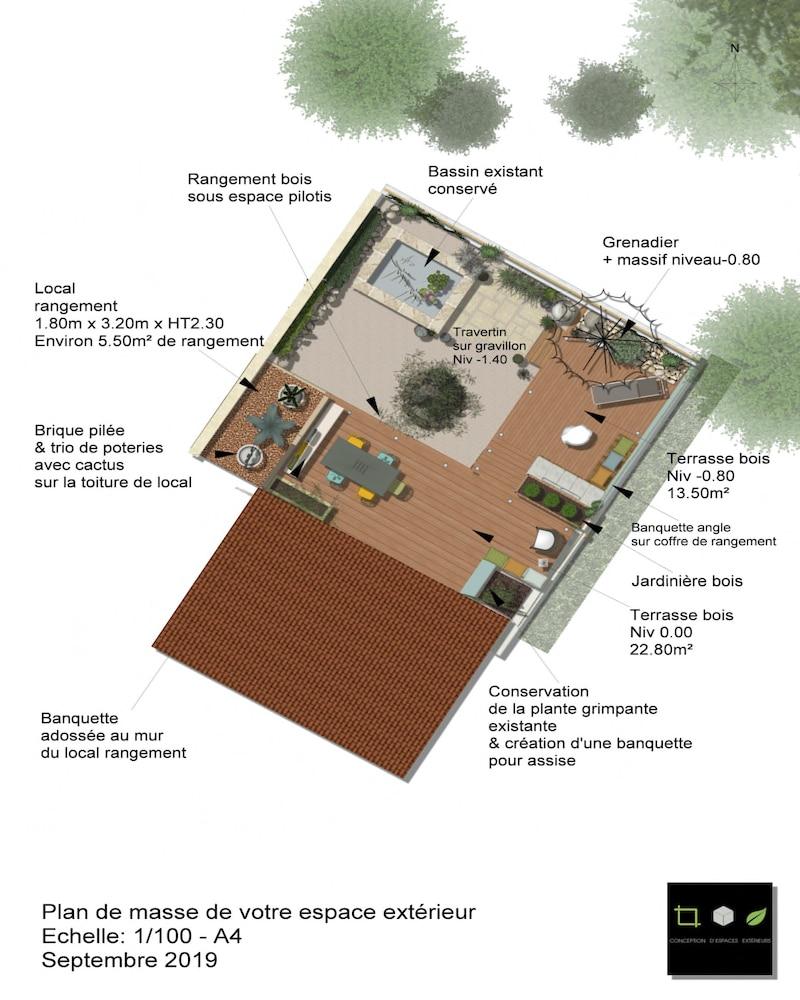 Plan de masse jardin type patio espondeilhan