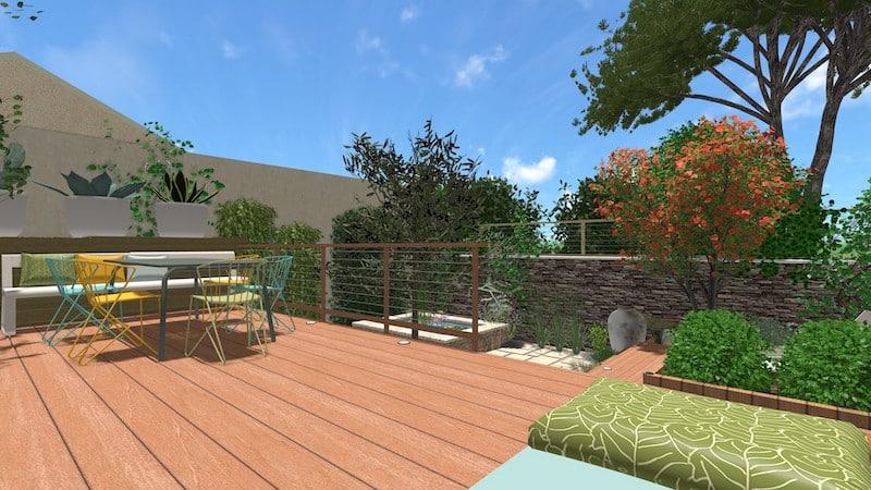 Vue 1 jardin type patio espondeilhan