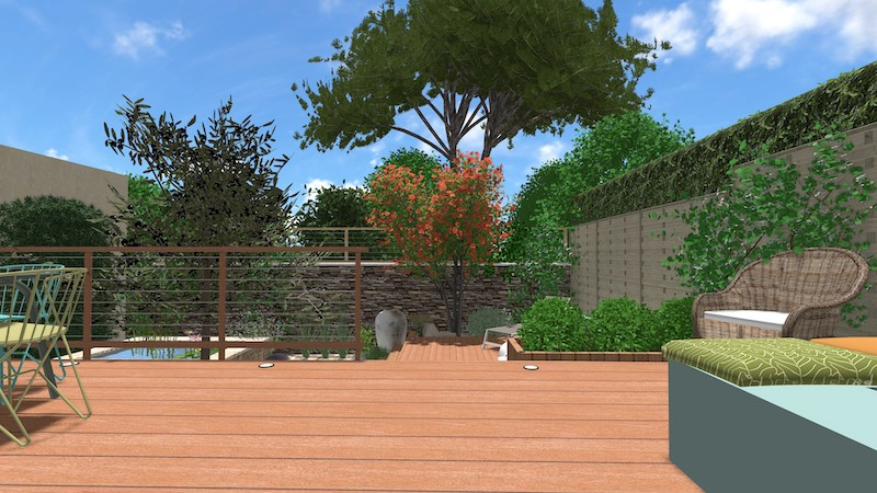 Vue 2 jardin type patio espondeilhan