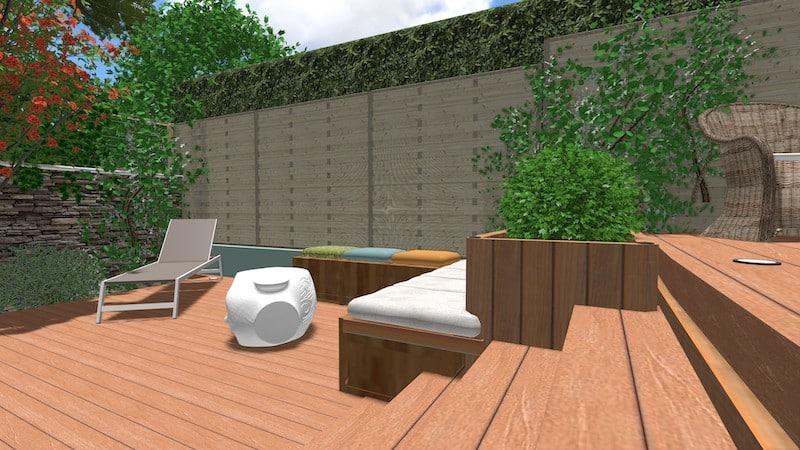 Vue 3 jardin type patio espondeilhan