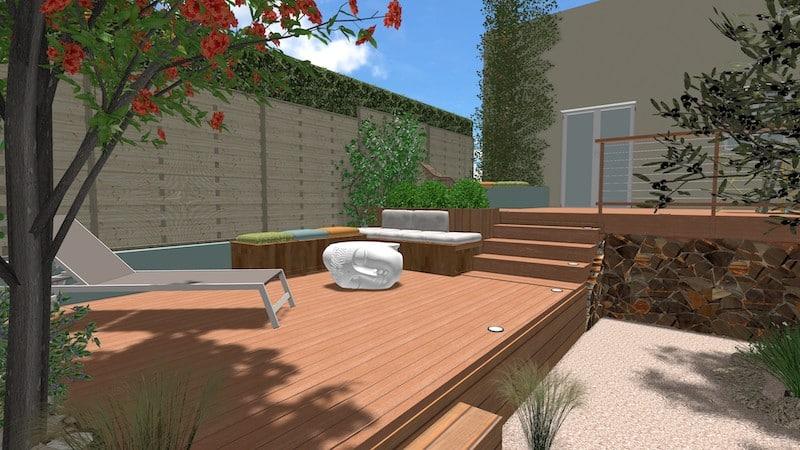 Vue 4 jardin type patio espondeilhan