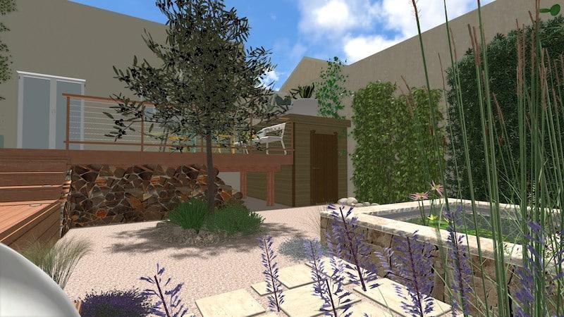 Vue 5 jardin type patio espondeilhan