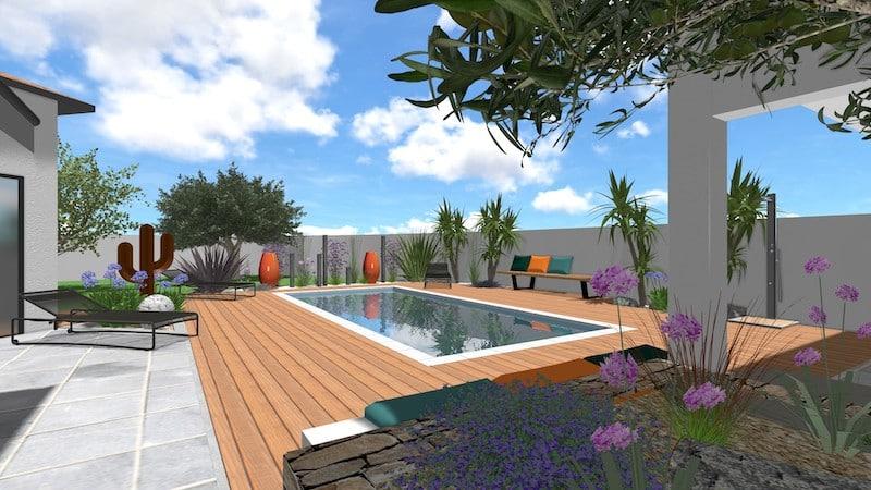 Vue 3D piscine pool house st andré de sangonis 2