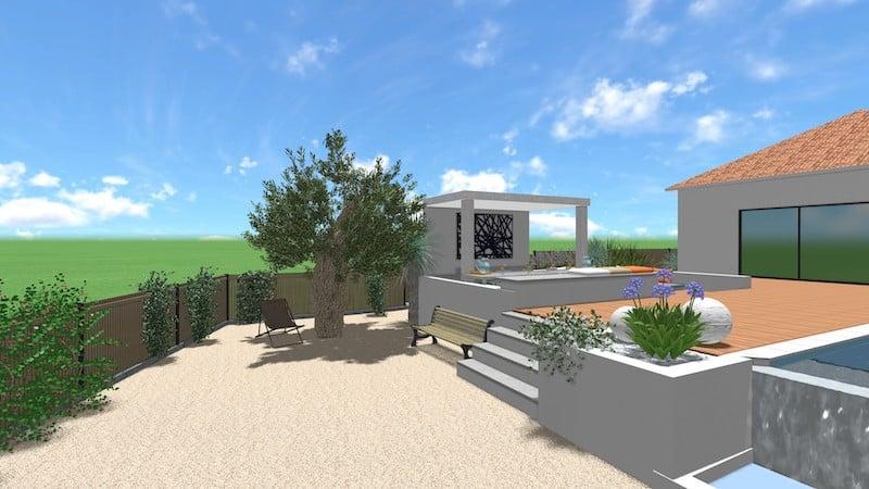 Vue 3D Création Espace Extérieur Bessan 4